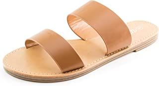 Womens Double Wide Strap Flat Silde Sandals (Adults)