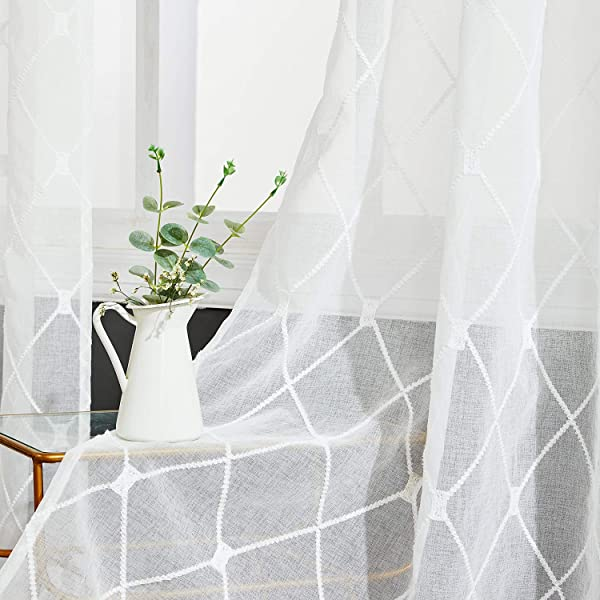 Top Finel White Sheer Curtains 90 Inches Long Embroidered Diamond Grommet Window Curtains For Living Room Bedroom 2 Panels