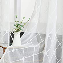Topfinel White Sheer Curtains Embroidered Diamond Eyelet Window Curtains for Living Room Bedroom 54x84 Inch, 2 Panels