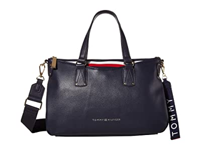 Tommy Hilfiger Walker Smooth PVC Satchel (Tommy Navy) Satchel Handbags