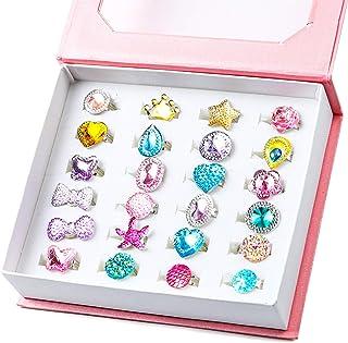 WATINC 24Pcs Adjustable Princess Pretend Jewelry Rings, Girl's Jewelry Dress Up Play Toys, Rhinestone Gift Set in Box for ...