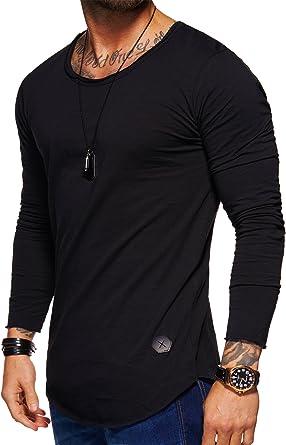behype. 30-3751 Men's Oversize Basic Long-Sleeved O-Neck T-Shirt