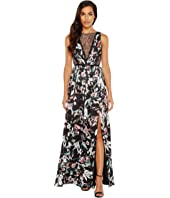 Adrianna Papell - Print Satin Chiffon Gown