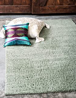 Unique Loom Serenity Solid Shag Collection Super Soft Micro Polyester Sage Green Area Rug (5' 0 x 8' 0)