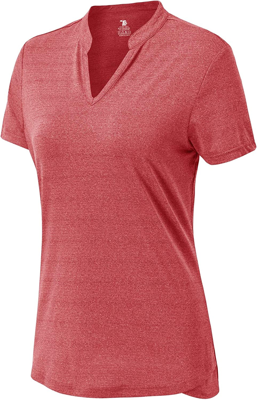 BASUDAM Women's Golf Polo Shirts V-Neck Short Sleeve Collarless Tennis Running T-Shirts Quick Dry : Sports & Outdoors