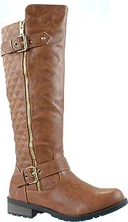 حذاء برقبة طويلة للنساء من فوريفر مانجو-21 مبطن بنمط بطة الساق مع مشبك زينة بسحاب