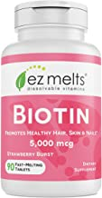 EZ Melts Biotin for Hair, Skin, Nails, 5,000 mcg, Sublingual Vitamins, Vegan, Zero Sugar, Natural Strawberry Flavor, 90 Fast Dissolve Tablets