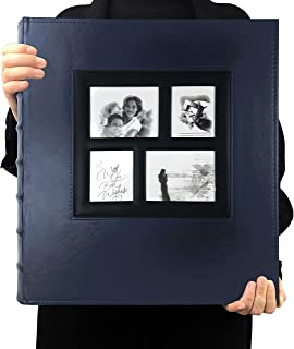 RECUTMS 600 عکس آلبوم یادداشت آلبوم شکاف های آلبوم PU پوشش چرم Sewn Bonded دارای 4x6 عکس 5 در هر صفحه هدیه آلوم خانوادگی برای پدر مادر (آبی)