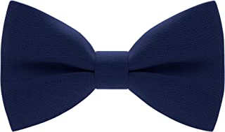 Bow Tie House Men's Pre-Tied Bow Tie in Classic Gabardine (Medium, Navy Blue)