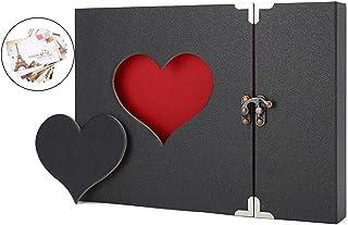 AIOR Album Photo Scrapbooking, A4 DIY Journal Scrapbook Créatif avec Gravure en Forme de cœur, Traditionnel Mémoire Album,...