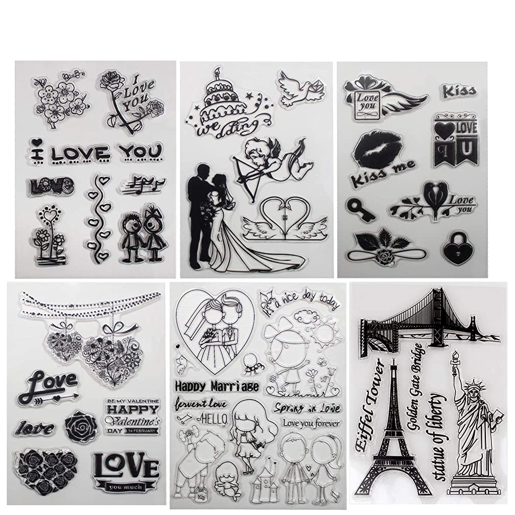 Clear Stamp Happy Valentines Day kiss You Love Blooms Envelope DIY Scrapbook Card Embossing Template Transparent Stamp