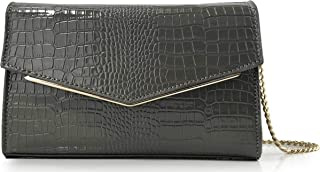Women Envelop Glossy Evening Bag Croc Patent Leather Clutch Chain Cross Body Bag