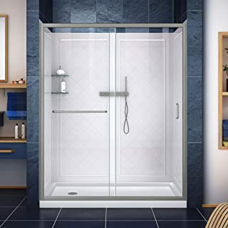 DreamLine Infinity-Z 30 in. D x 60 in. W x 76 3/4 in. H Clear Sliding Shower Door in Brushed Nickel, Left Drain Base and B...