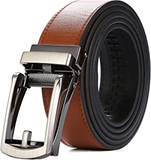 Tonywell Mens Leather Ratchet Belts with Open Buckle Dress Belt 30mm Wide