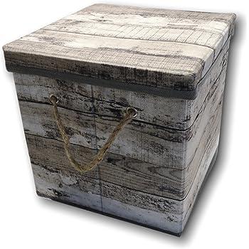 Urban Design Caja de almacenaje Caja Plegable con Tapa y Asa Cuerda de plástico en Madera Retro Look (pequeño, Gris): Amazon.es: Hogar