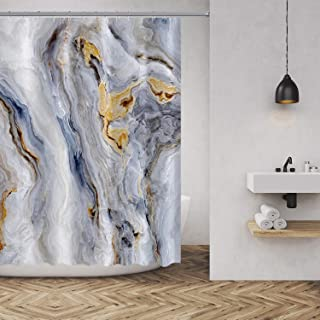 Marble Texture Shower Curtain Nature Stone Color Background Pattern Luxurious Graphic Print Polyester Fabric Bathroom Decor Sets with Hooks 72 x 78 Inches, Gold Grey White