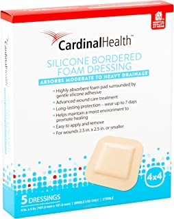 Cardinal Health BFM44RR Silicone Bordered Foam Bandage 4-inch x 4-inch (15), 15 Count Pack