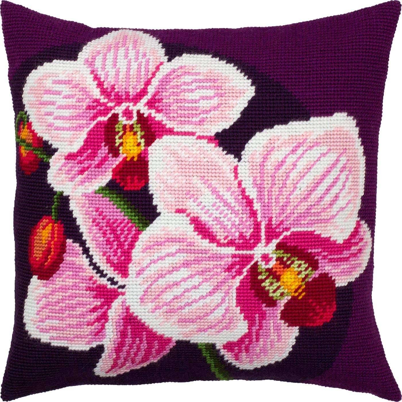 Pink Orchids. Needlepoint Kit. Throw SEAL limited product Printe price 16×16 Pillow Inches.