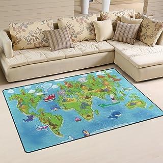 COOSUN Kids World Map Area Rug Carpet Non-Slip Floor Mat Doormats for Living Room Bedroom 60 x 39 inches