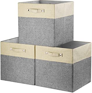 Awekris Foldable Storage Bins Sturdy Fabric Storage Basket Cube with [3-Pack] 13x13 inch with Handles for Organizing Shelf...