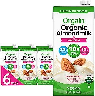 Orgain Organic Plant Based Protein Almond Milk, Unsweetened Vanilla - Non Dairy, Lactose Free, Vegan, Gluten Free, Soy Fre...