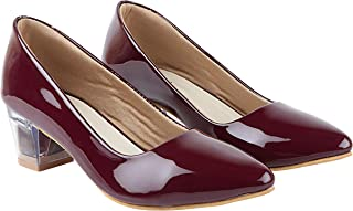 Do Bhai Women Patent Material Pumps with Transparent Heels
