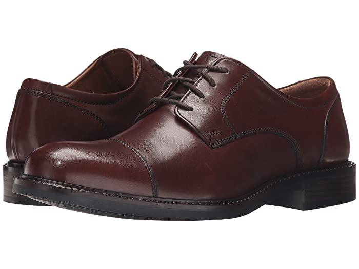 Johnston and Murphy  Tabor Dress Cap Toe Oxford (Brown Calfskin) Mens Lace Up Cap Toe Shoes