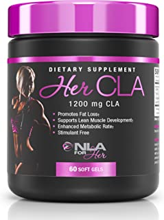 NLA for Her - Her CLA - 1200 mg CLA (Conjugated Linoleic Acid) - Promotes Fat Loss (Stimulant Free), Supports Lean Muscle Development & Enhances Metabolic Rate - 60 Soft Gels