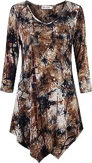 Tie Dye Tunic 3/4 Sleeve V Neck Asymmetrical Womens Dressy Blouse Tops