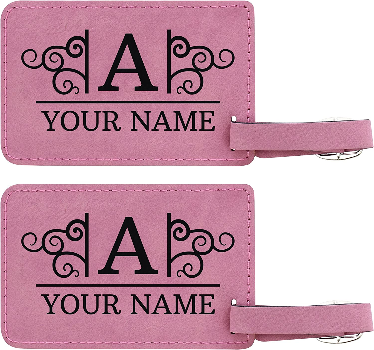 Personalized Luggage Tags Custom Initial /& Name Personalized Gifts for Travelers Personalized 2-pack Laser Engraved Leatherette Luggage Tags Black