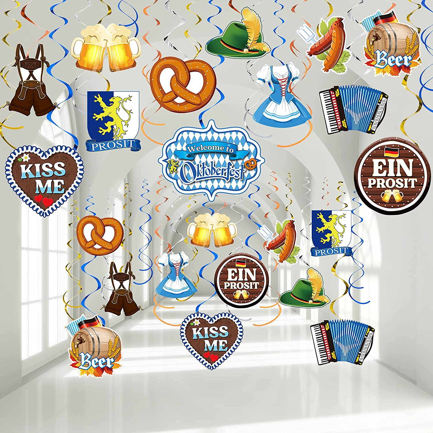 30 Pieces Oktoberfest Party Swirl Decorations Oktoberfest Hanging Whirl Streamers German Beer Hanging Decor Wiesenthal Beer Sausage, Beer, Gold Dress, Leather Pants Hanging Festival Party Supplies