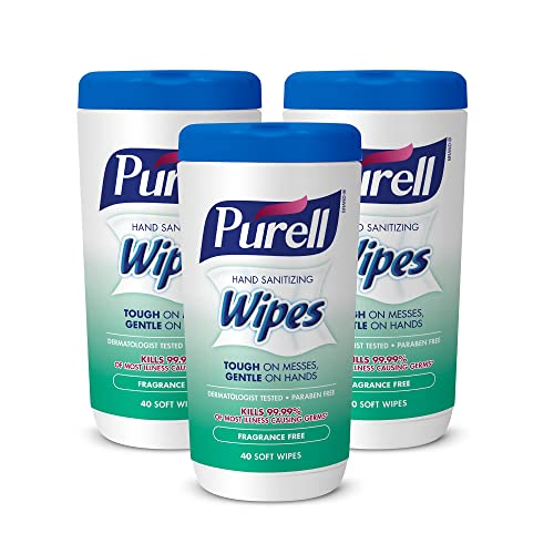 PURELL Hand Sanitizing Wipes, Fragrance Free, 40 Count Non-Linting Sanitizing Wipes Canister
