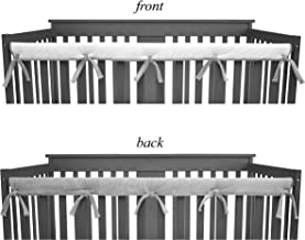 American Baby Company 1 Pack Heavenly Soft Narrow Reversible Crib Rail Cover for Long Rail, Gray/White, for Rails Measuring up to 4