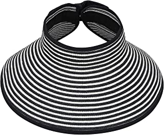 HDE Women UPF 50+ Packable Crushable Roll Up Wide Brim Sun Visor Beach Straw Hat