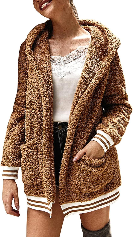 Women's Fuzzy Fleece Lapel Open Front Long Cardigan Coat Faux Fur Warm Winter Outwear Jackets with Pockets