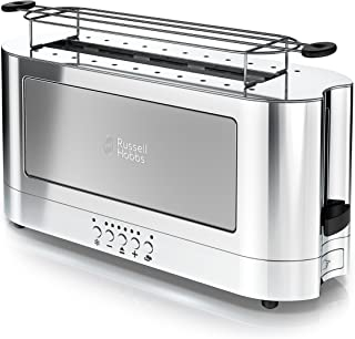 Russell Hobbs 2-Slice Glass Accent Long Toaster, Silver & Stainless Steel, TRL9300GYR