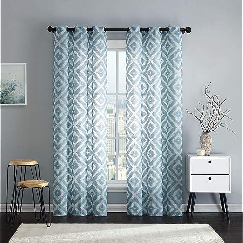 Teal Blue Geometric Curtains Panels: Amazon.com