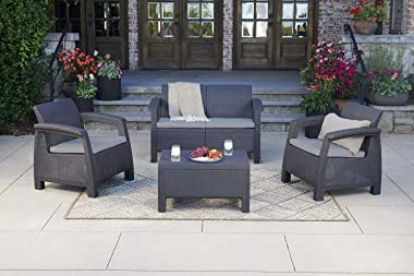 Keter Chair for Outdoor Seating with Washable Cushion-Perfect for Balcony, Deck, and Poolside Furniture Sets, 29.50 x 27.60 x