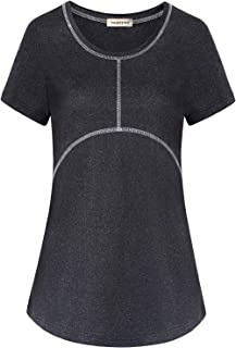 Yakestyle Women's Activewear Cool Dry Yoga Shirt Workout Top