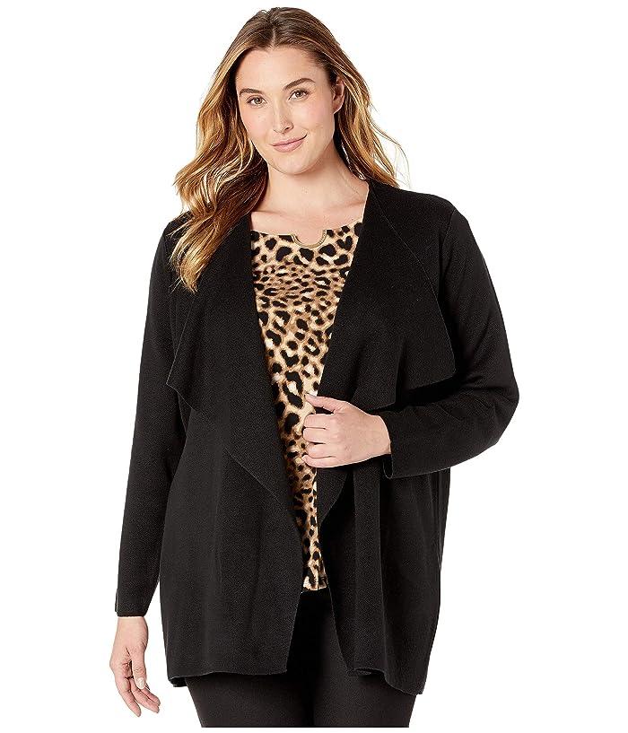 Plus Size Open Flyaway Cardigan (Black) Women's Sweater