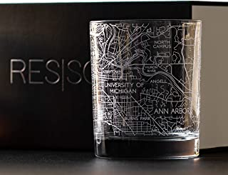 RESSCU Etched Ann Arbor Map Whiskey Glasses, Set of 2 with Gift Box, Unique City Map Gift