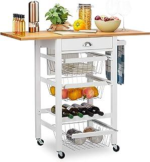 Relaxdays 10024986 Desserte de cuisine, plan de travail pliant, bambou, bloc-couteaux, chariot, paniers, range-bouteilles,...