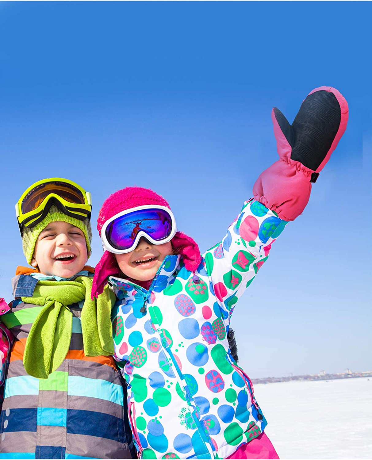 Hicarer 4 Pairs Kids Ski Mittens Waterproof Snow Gloves Winter Warm Snowboard Mittens for Cold Weather Outdoor