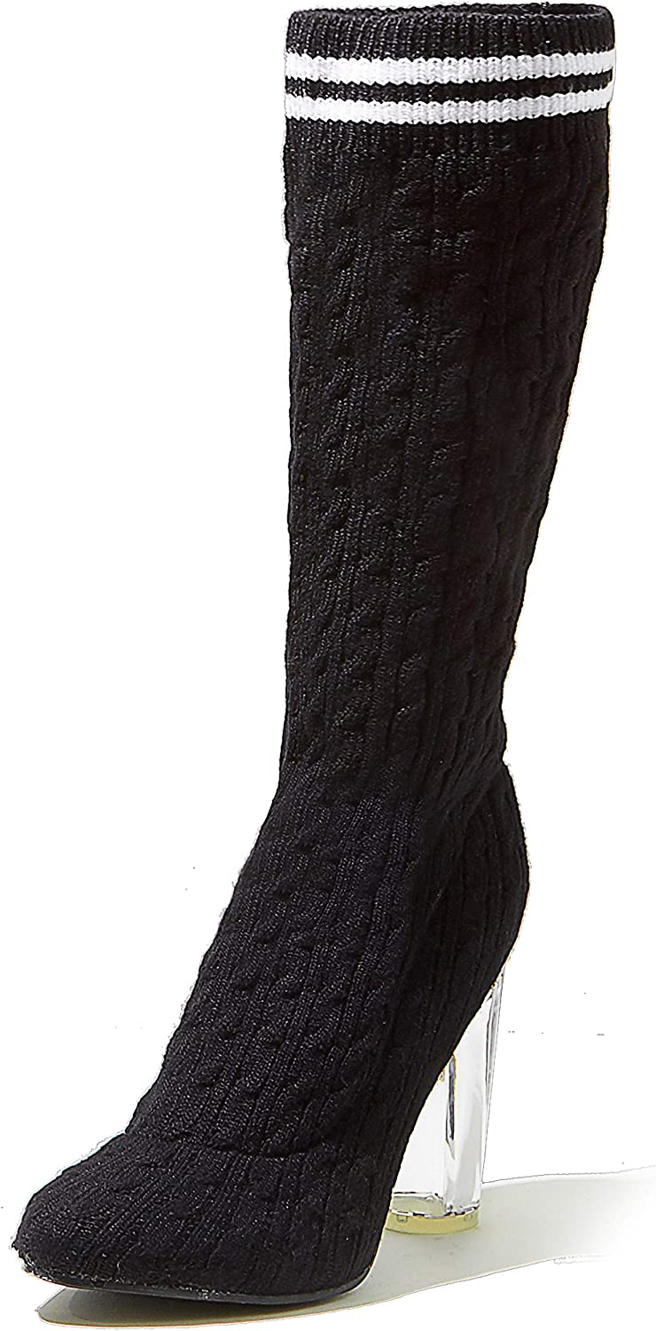 DailyShoes Knee-High Sweater Heels - Chunky See-Through Heel - Ultra Soft Sweater Fabric - Perfect for a Bold Nightwear Look
