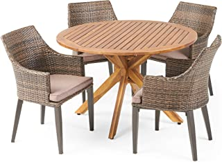 Great Deal Furniture Linsey Outdoor 4 Seater Acacia Wood Dining Set with Cushions, Teak and Mixed Mocha