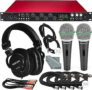 Focusrite Scarlett 18i20 USB 2.0 Audio Interface Platinum Bundle W/Cables, 2x Samson Professional Dynamic Microphone, Tascam Headphones, FiberTique Cleaning Cloth