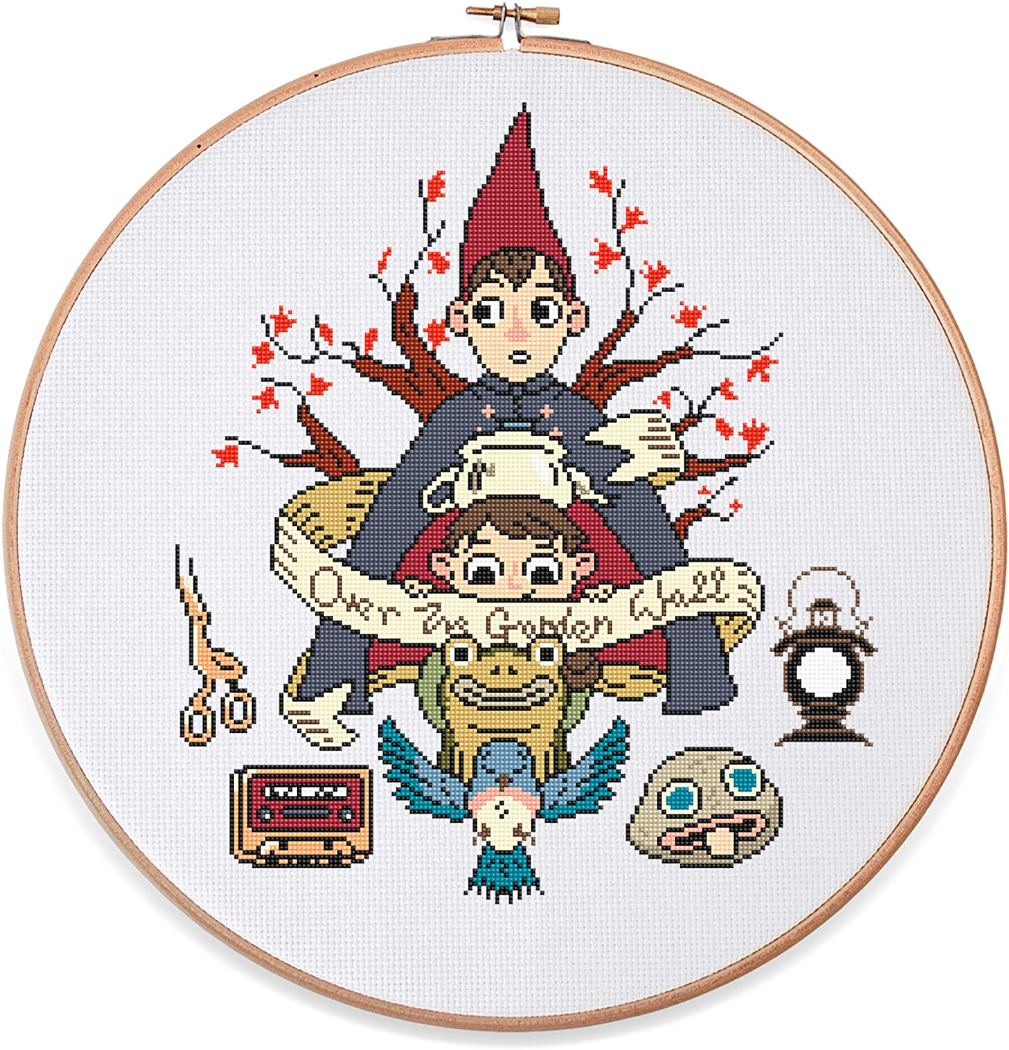 Over The Garden Wall Cross Stitch Kit, 14 Count White Aida, 11.2
