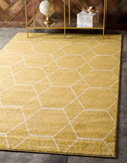 Unique Loom Trellis Frieze Collection Lattice Moroccan Geometric Modern Yellow Area Rug (5' 0 x 8' 0)