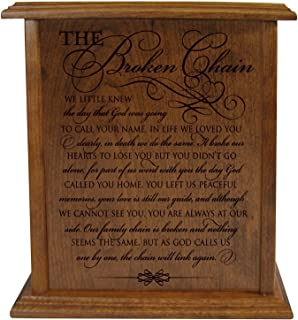 The Broken Chain Keepsake Funeral Cremation Urn for Human Adult Ashes Hand Made in Solid Cherry Wood Hand Finished and Laser Engraved Wooden Cremation Urn in Home or Niche at Columbarium