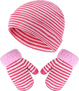 VBIGER Kids Winter Hats and Gloves Set Knitted Beanie Mittens for Kids Baby Toddler Children, Soft Warm Lining Mittens Boys Girls (Pink-White)